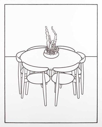 table and chair cartoon table chairs and cactus bowl